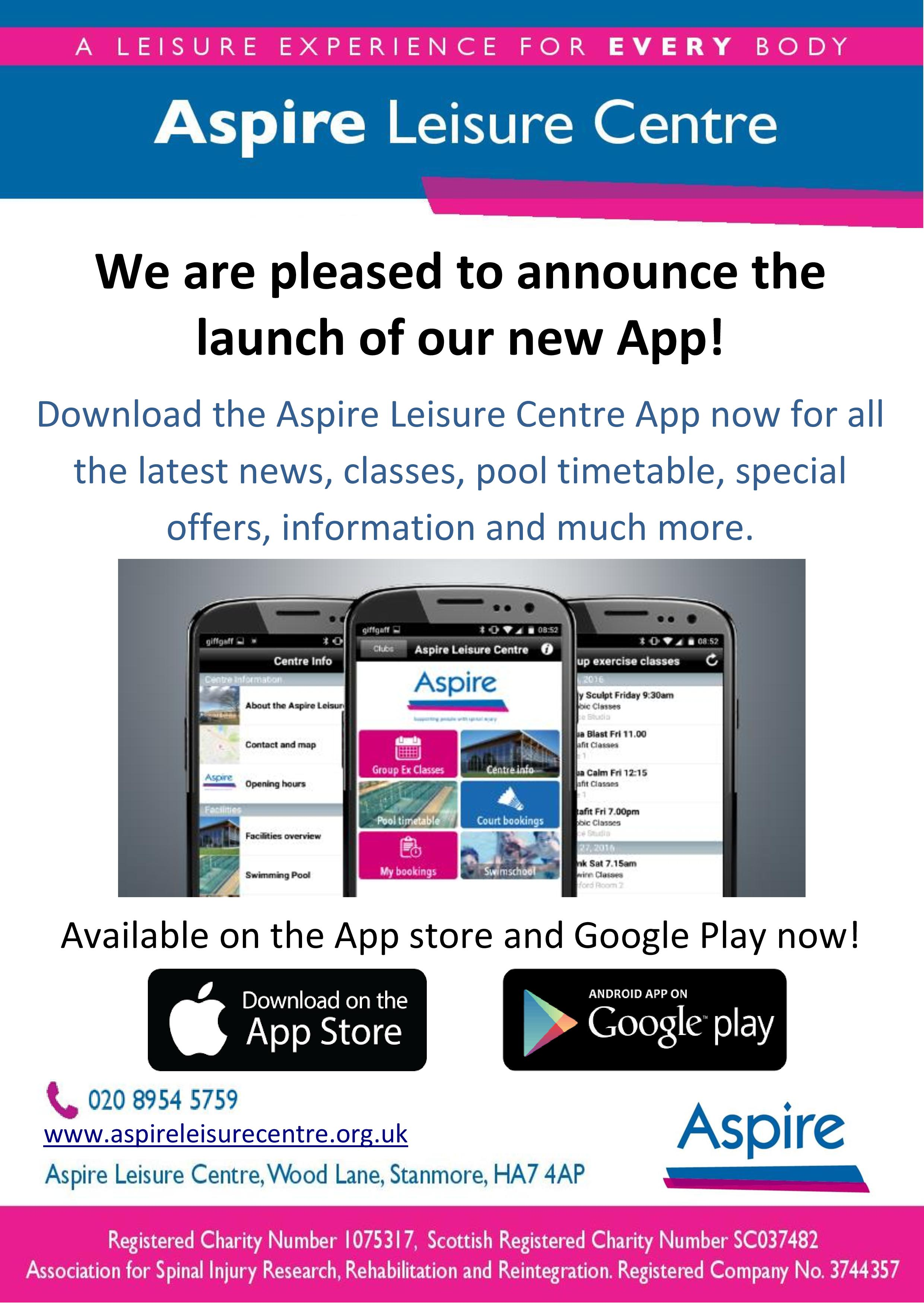 Poster about new Aspire Leisure Centre app